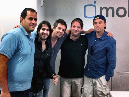ליאונרדו דיקפריו(מימין) וצוות מובלי: משה אורץ, יוסי שמש, משה חוגג ועמנואל מראלי/ צלם: יחצ